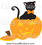 Critter Clipart of a Black Cat Inside a Carved Halloween Pumpkin by Rosie Piter
