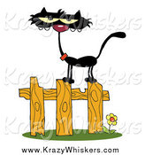 Critter Clipart of a Black Cat on a Fence by Hit Toon