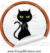 Critter Clipart of a Black Cat on a Round Peeling Sticker by Elaineitalia