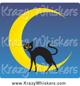 Critter Clipart of a Black Cat over a Crescent Moon on Blue by Rosie Piter