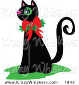 Critter Clipart of a Black Cat Wearing a Christmas Bow and Holly - Royalty FreeBlack Cat Wearing a Christmas Bow and Holly by