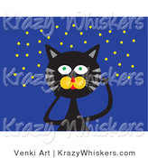 Critter Clipart of a Black Cat with Green Eyes and Gray Stripes, Looking up at a Starry Night Sky by Venki Art