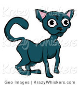Critter Clipart of a Black Cat with Wide Eyes Facing Left by AtStockIllustration