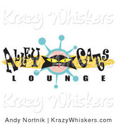 Critter Clipart of a Black Cat with Yellow Eyes on a Retro Alley Cats Lounge Sign by Andy Nortnik