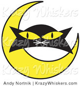 Critter Clipart of a Black Cat's Face with Yellow Eyes with with a Yellow Crescent Moon by Andy Nortnik
