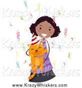 Critter Clipart of a Black Girl Holding Her Ginger Birthday Cat by BNP Design Studio