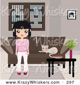 Critter Clipart of a Black Haired White Girl Dressed in Pink and White, Standing in Front of a Brown Couch with a Kitty Resting on the Cushions and a Table with a Bowl and Plant by Melisende Vector