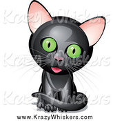Critter Clipart of a Black Kitten with a Cocked Head by Oligo