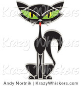 Critter Clipart of a Black Siamese Cat with Slanting, Big Green Eyes by Andy Nortnik