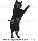 Critter Clipart of a Black Silhouetted Feline Jumping up on White by KJ Pargeter