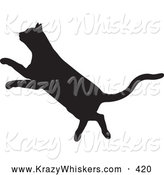 Critter Clipart of a Black Silhouetted Feline Leaping to the Left by KJ Pargeter