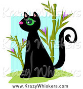 Critter Clipart of a Black Sitting Kitty and Bamboo by