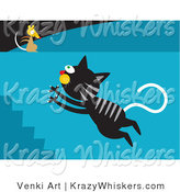 Critter Clipart of a Black Tabby Cat with Gray Stripes Leaping up a Flight of Stairs Towards a Mouse on a Wall by Venki Art