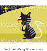 Critter Clipart of a Black Tabby Cat with Gray Stripes Pondering on How to Catch a Fast Little Mouse by Venki Art