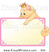 Critter Clipart of a Blank Sign with a Princess Cat by Pushkin