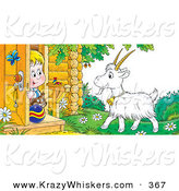 Critter Clipart of a Blond Boy and His Cat Peeking out a Front Door, Looking at a Goat by Alex Bannykh