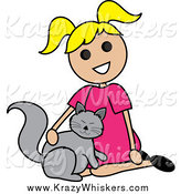 Critter Clipart of a Blond Girl Petting a Cat by Pams Clipart