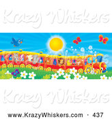 Critter Clipart of a Blue Bird and Butterflies Flying over Flowers near a Cat, Pig, Goat, Rhino, Squirrel, Lion, Chick and Fox on a Train on a Warm Sunny Day by Alex Bannykh
