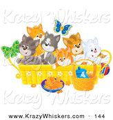 Critter Clipart of a Blue Butterfly over a Litter of Colorful Kittens in a Basket with Food and a Ball on the Floor by Alex Bannykh