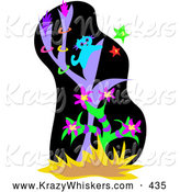 Critter Clipart of a Blue Cat Climbing in a Tree, Chasing Stars at Night by