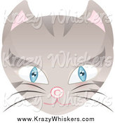 Critter Clipart of a Blue Eyed Beige Cat Face with a Copyright Symbol Nose by Melisende Vector