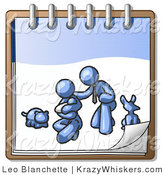 Critter Clipart of a Blue Family Showing a Man Kneeling Beside His Wife and Newborn Baby with Their Dog and Cat on a Ringed Notebook, Symbolizing Family Planning by Leo Blanchette