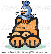 Critter Clipart of a Brave Bluebird Sitting on Top of an Orange Cat's Head and Teasing Him by Andy Nortnik