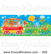 Critter Clipart of a Bright Colorful Crowded Tram Car with a Chicken, Bear, Cat and Pig, Riding Through a Garden of Flowers and Butterflies by Alex Bannykh