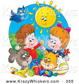 Critter Clipart of a Bright Summer Sun Shining down on a Bird, Dog, Cat, Toys and a Boy and Girl by Alex Bannykh