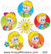 Critter Clipart of a Bright Sun Surrounded by Scenes of Little Boys with Toys, Books and a Cat by Alex Bannykh