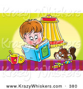 Critter Clipart of a Brown Cat Trying to Sneak Candy from a Table by a Boy Reading a Book by Alex Bannykh