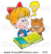 Critter Clipart of a Brown Cat Watching a Little Blond Girl Do Her Homework by Alex Bannykh