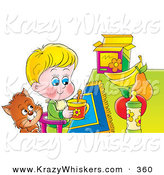 Critter Clipart of a Brown Cat Watching a Little Boy in a High Chair As He Eats Breakfast by Alex Bannykh