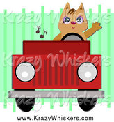 Critter Clipart of a Brown Cat Waving and Driving a Red Jeep by