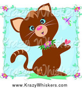 Critter Clipart of a Brown Cat with Hearts, Vines and a Dragonfly over a Blue Square by