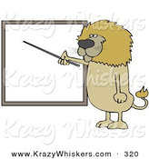 Critter Clipart of a Brown Male Lion Standing and Using a Pointer Stick to Discuss Rules on a Blank Board by Djart