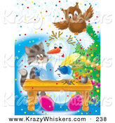 Critter Clipart of a Brown Owl Flying with an Envelope over a Kitten Watching a Snowman Writing a Letter by Alex Bannykh