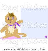 Critter Clipart of a Brown Pet Cat Wearing a Purple Collar, Pointing to a Blank Blue Stationery Background by