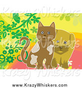 Critter Clipart of a Brown Puppy and Kitten with Flowers by Mayawizard101