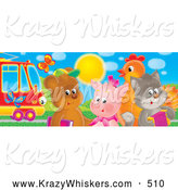 Critter Clipart of a Butterflies near Cute Barnyard Animals; Bear, Pig, Chicken and Cat Standing by a Rail Car by Alex Bannykh