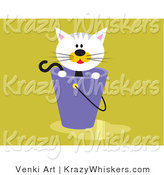 Critter Clipart of a Calico Kitten Inside a Bucket with Water Spilled on the Floor by Venki Art