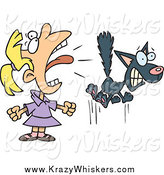 Critter Clipart of a Cartoon Blond White Girl Screaming at a Cat by Toonaday