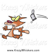 Critter Clipart of a Cartoon Can Flying at a Brown Cat by Toonaday