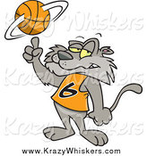 Critter Clipart of a Cartoon Cat Spinning a Basketball by Toonaday