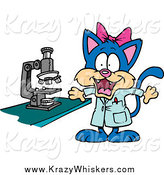Critter Clipart of a Cartoon Female Cat Scientist by Toonaday