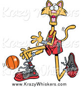 Critter Clipart of a Cartoon Ginger Basketball Cat by Toonaday
