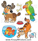 May 18th, 2015: Critter Clipart of a Cartoon Happy Dog, Parrot, Cat and Fish by Visekart