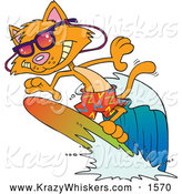 Critter Clipart of a Cartoon Surfer Cat by Toonaday