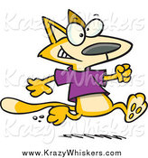Critter Clipart of a Cartoon Yellow Cat Running in a T Shirt by Toonaday