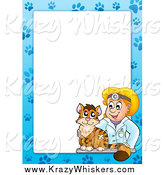 Critter Clipart of a Cat and Blond White Female Veterinarian Border Around White Space by Visekart